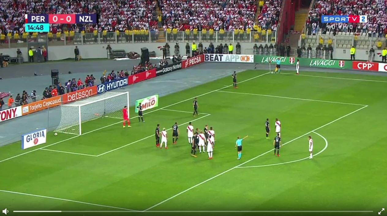 Kurioser Eckball bei Peru vs Neuseeland