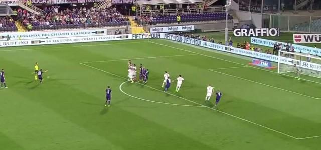 Marcos Alonso (Fiorentina) mit Traumfreistoß gegen den AC Milan