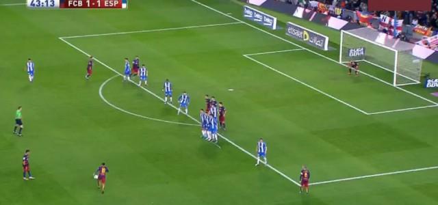 Messis super Freistoß gegen Espanyol
