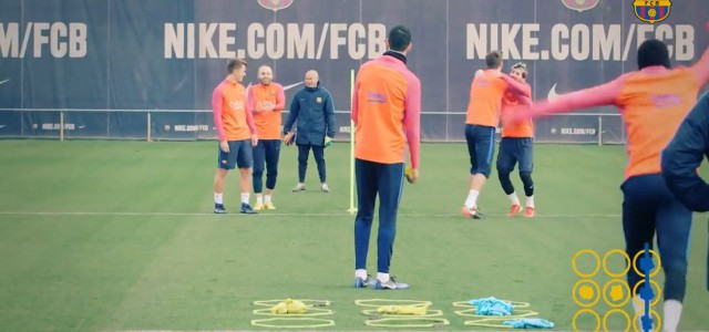 Originelle Trainingseinheit: Barca-Stars spielen Tic-Tac-Toe