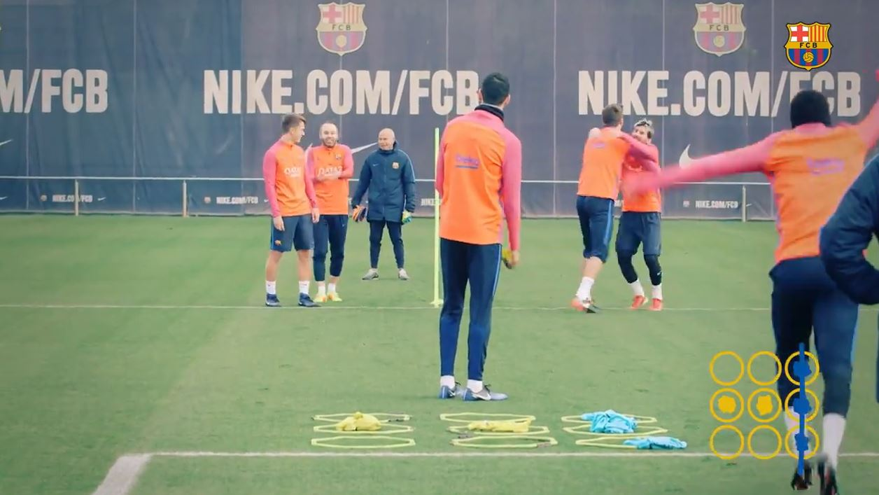 Originelle Trainingseinheit: Barca-Stars spielen Tic-Tac-Toe
