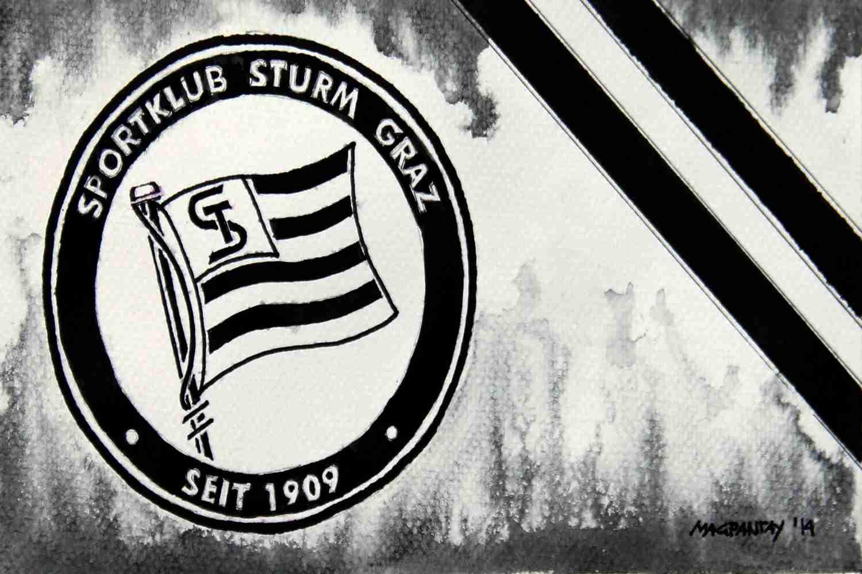 _SK Sturm Graz - Wappen mit Farben60x40cm