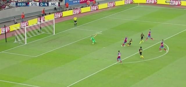 Sergio Agüeros Hattrick beim 5:0 von Manchester City bei Steaua Bukarest