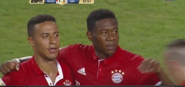 David Alaba trifft gegen den AC Milan aus der Distanz