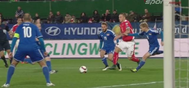 Kurios: Marko Arnautovic trifft zum 1:0 gegen Liechtenstein