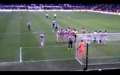 """Yohan Cabaye (Newcastle) trifft per Freistoß gegen Stoke – """"dank"""" Steven Taylor :)"""