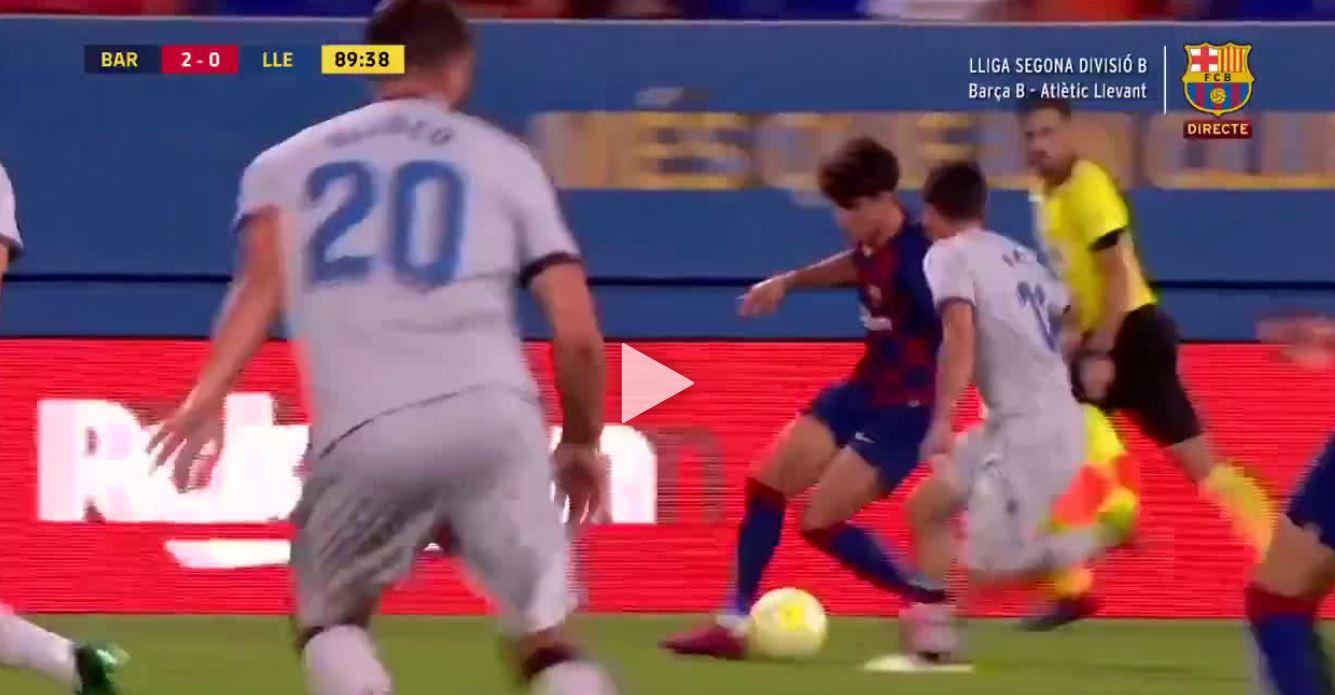 Gurkerl, Gurkerl, Ferse: Álex Collados irres Solotor für Barcelona B