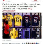 An nur einem Tag: PSG verkauft 10.000 Neymar-Trikots