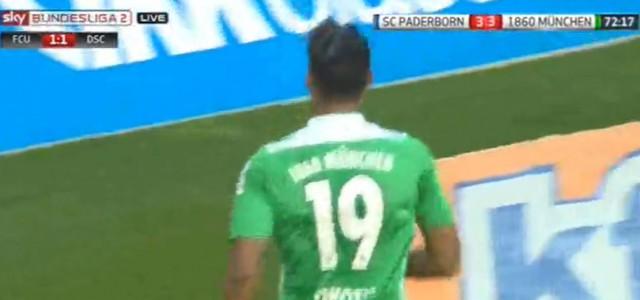 Rubin Okoties lupenreiner Hattrick für 1860 München beim 4:4 in Paderborn