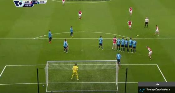 Kurioses Freistoßtor von Alexis Sanchez (Arsenal) gegen Stoke City