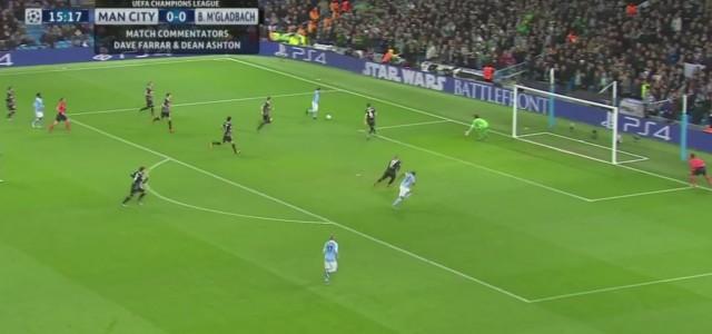 Staubtrocken: David Silva trifft zum 1:0 für Manchester City gegen Mönchengladbach